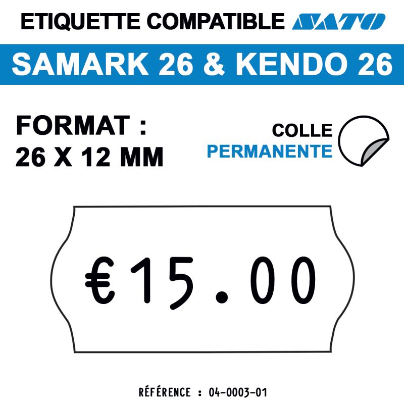 tiquettes blanches pour pince SATO SAMARK 26 et KENDO 26 - permanentes - format : 26 x 12 mm