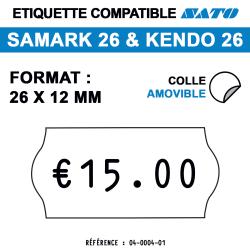 Samark 26 & Kendo 26 - 26x12 mm - Rouleau de 1500 étiquettes.