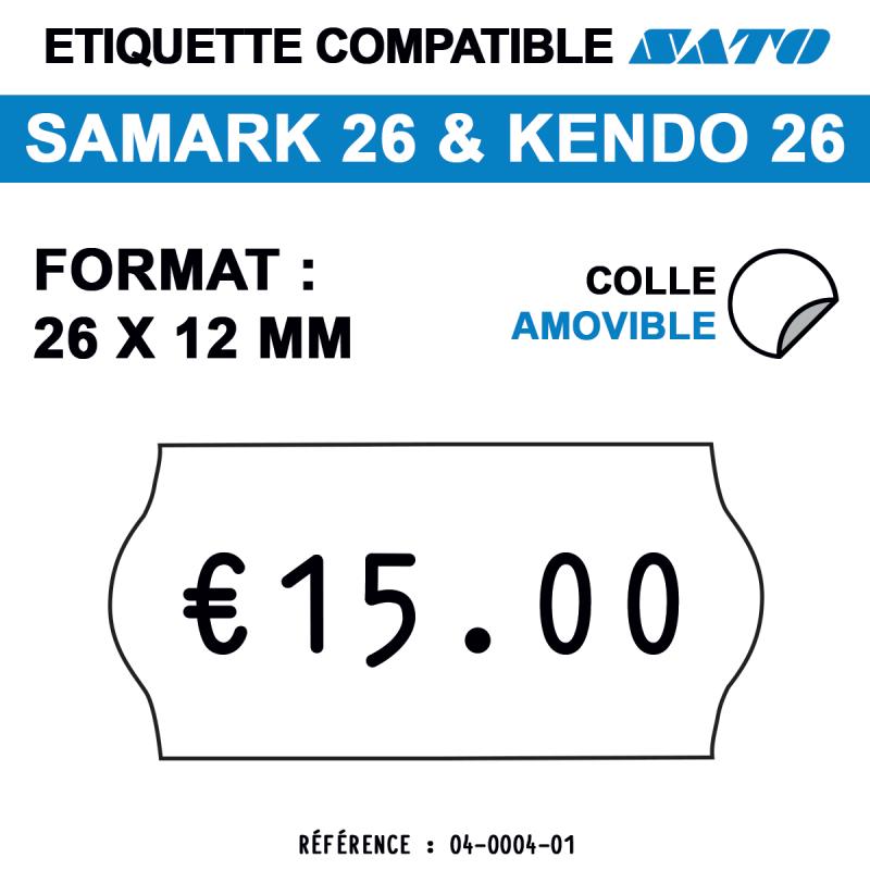 tiquettes blanches pour pince SATO SAMARK 26 et KENDO 26 - repositionnables - format : 26 x 12 mm