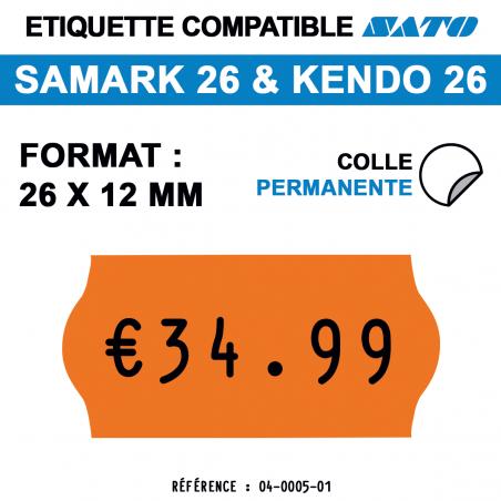 tiquettes oranges pour pince SATO SAMARK 26 et KENDO 26 - permanentes - format : 26 x 12 mm