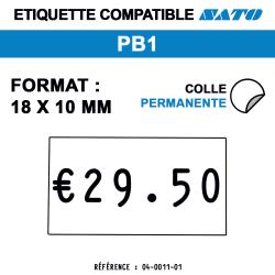 PB1 - Format 18x10 mm - Rouleau de 1000 étiquettes