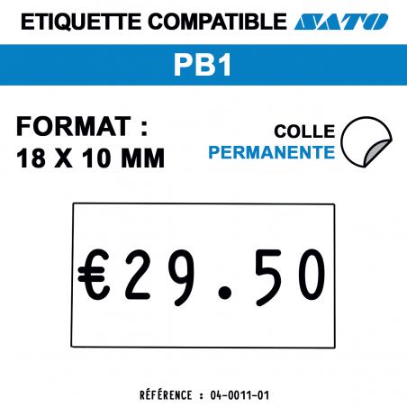 tiquettes blanches pour pince SATO PB1 - permanentes - format : 18 x 10 mm