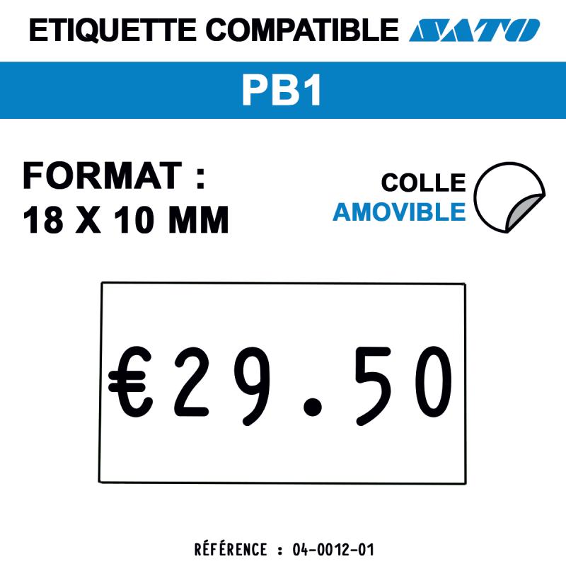 tiquettes blanches pour pince SATO PB1 - repositionnables - format : 18 x 10 mm