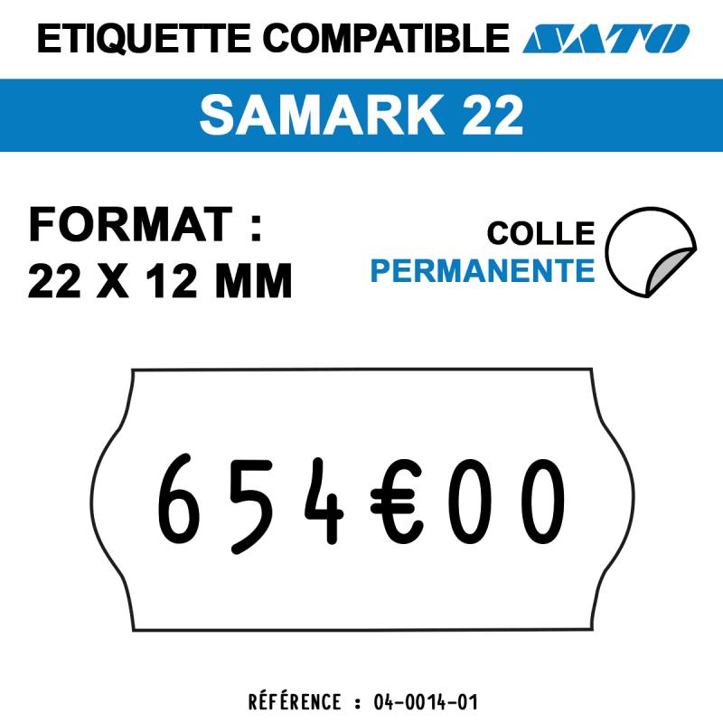 tiquettes blanches pour pince SATO SAMARK 22 - permanentes - format : 22 x 12 mm