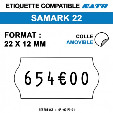 tiquettes blanches pour pince SATO SAMARK 22 - repositionnables - format : 22 x12 mm