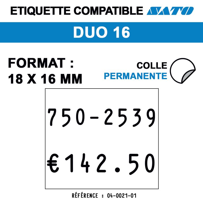 Etiquette duo16 18x16mm 1500etiq standard