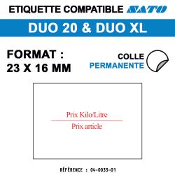 Duo 20 - Format 23x15 mm - Prix au kilo/litre et prix article