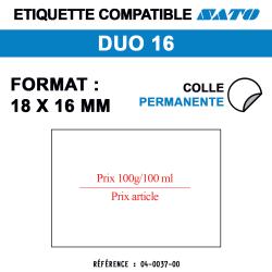 Sato Duo 16 - Format 18x16 mm - Rouleau de 1500 étiquettes prix 100g/100ml