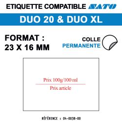 Étiquettes pour Duo 20 -  Prix 100 g /100 ml et prix article - Format 23x15 mm