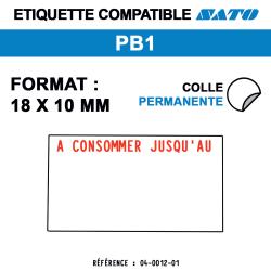 Étiquettes PB1 18x10 mm - A consommer jusqu'au