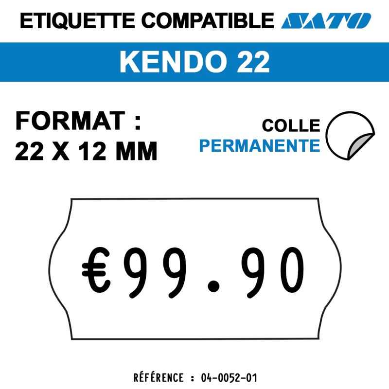tiquettes blanches pour pince SATO KENDO 22 - permanentes - format : 22 x 12 mm