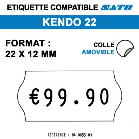 tiquettes blanches pour pince SATO KENDO 22 - Repositionnables - format : 22 x 12 mm