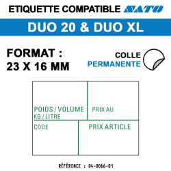 Duo 20 - Format 23x16 mm - Rouleau de 1200 étiquettes