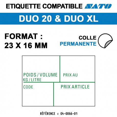 ROULEAU 1200ETIQ 23*16 MM SATO DUO20