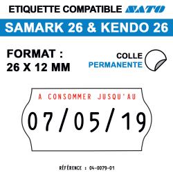 Samark 26 & Kendo 2 - Format 26x12 mm - Rouleau de 1500 étiquettes
