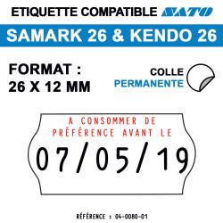 Samark 26 & Kendo 26 - Format 26x12 mm - Rouleau de 1500 étiquettes