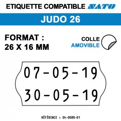 Meto Judo 26 - Format 26x16 mm -  Rouleau de 1200 étiquettes
