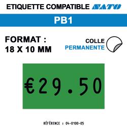 Sato PB1- Format 18x10 mm - Rouleau de 1000 étiquettes