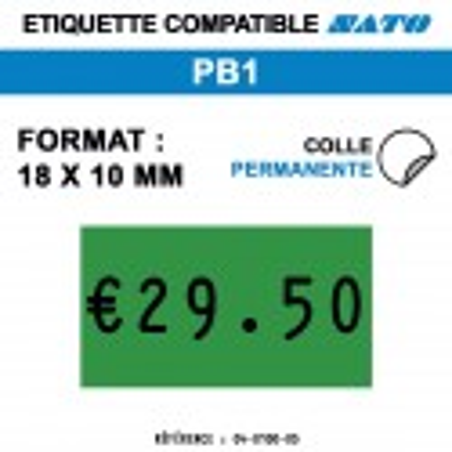 tiquettes couleur pour pince SATO PB1 - permanentes - format : 18 x 10 mm