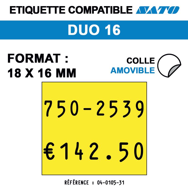 Etiquette duo16 18x16mm 1500etiq amovible