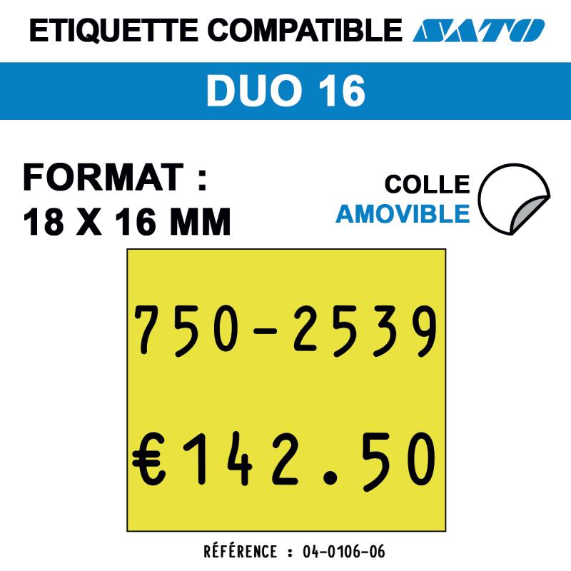 Etiquette duo16 18x16mm 1500etiq amovibles
