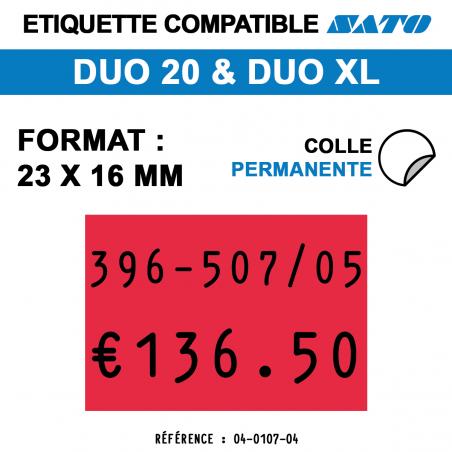 tiquettes couleur pour pince SATO DUO 20 - permanentes - format : 23 x 16 mm