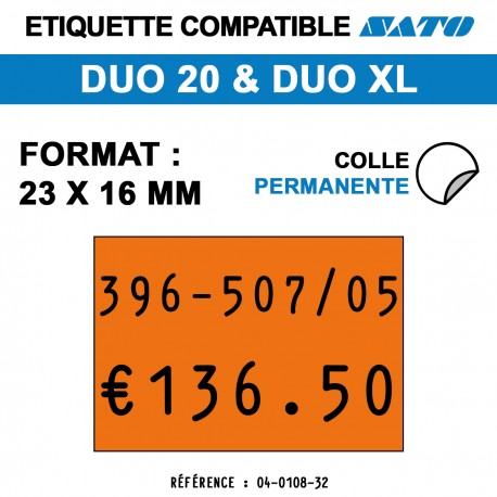 Etiquette duo20 23x16mm 1200etiq permanent