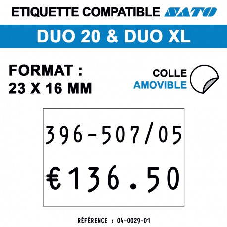 tiquettes blanches pour pince SATO DUO 20- Repositionnable - format : 23 x 16 mm