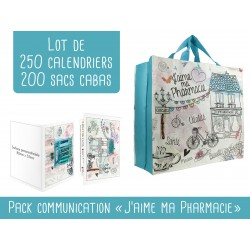 Pack cabas + calendriers pharmacie turquoise