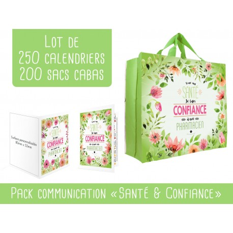 Pack cabas + calendriers pharmacie florale