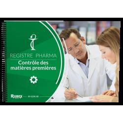 Registre Contrôle Qualité des Matières premières, format A4, 62 pages