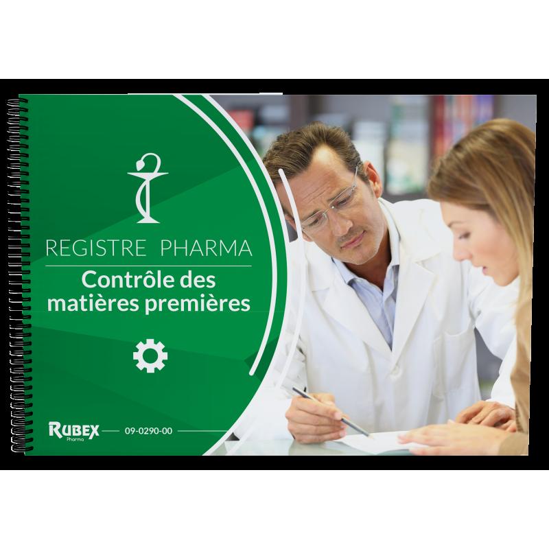 Registre de contrôle des matières premières utilisées à l'officine