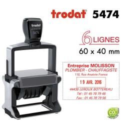 Tampon Dateur Trodat Métal line 5474, 6 lignes (60x40mm)