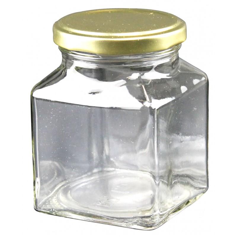 Grands pots en verre carré - Lot de 24
