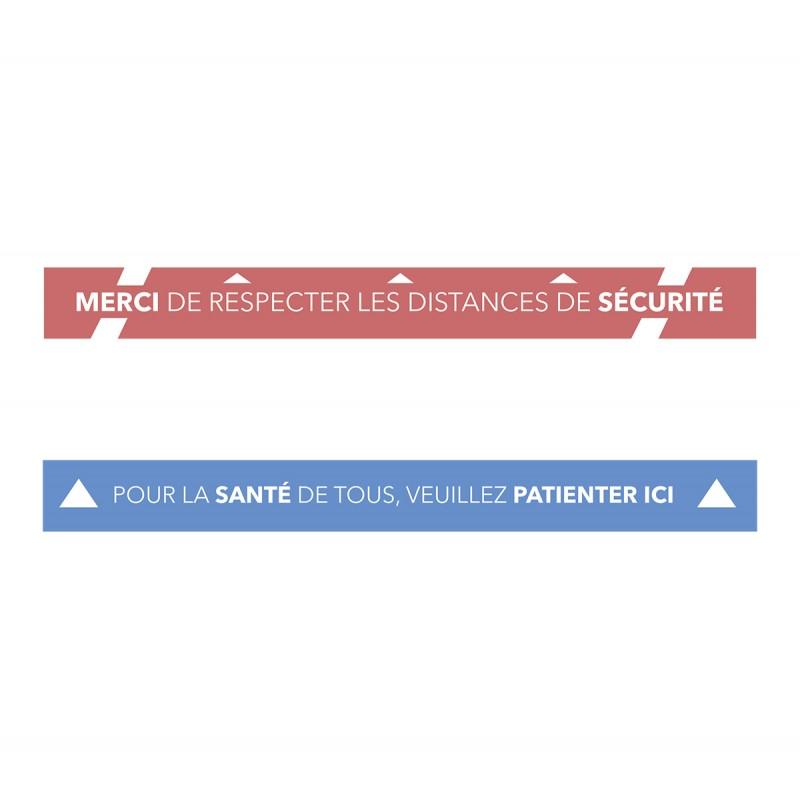 Kit de 2 Lignes adhésives de sol - Distances de sécurité - Covid19