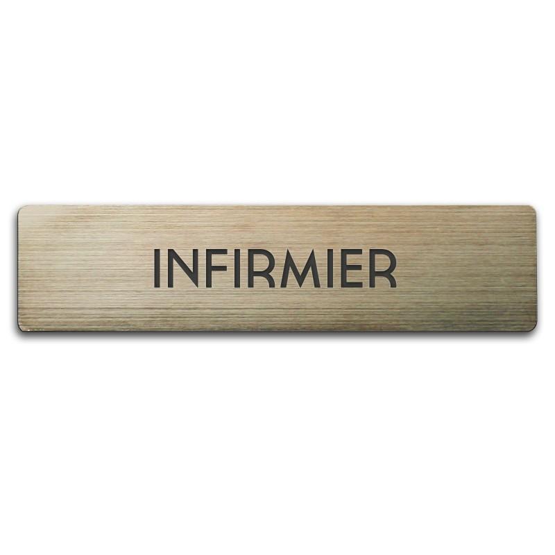 Badge Acrylique argenté 60x15mm, Infirmier