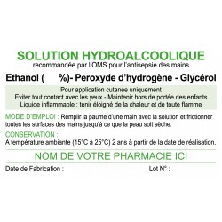 200 étiquettes pour Gel HydroAlcoolique