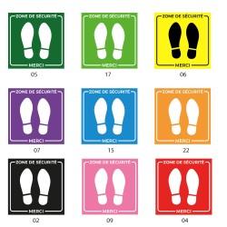 Empreintes de pas dans un carré - Lot de 4