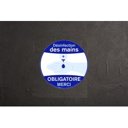 Sticker Désinfection des mains obligatoire - 20cm