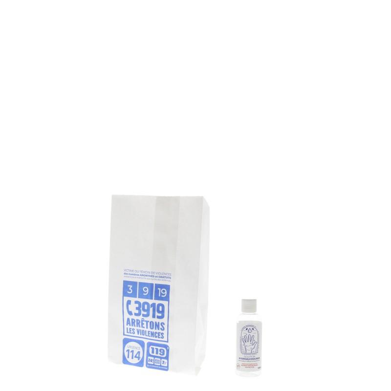 Sac papier pharmacie T54 - 12x25+8cm - Motif violences conjugales