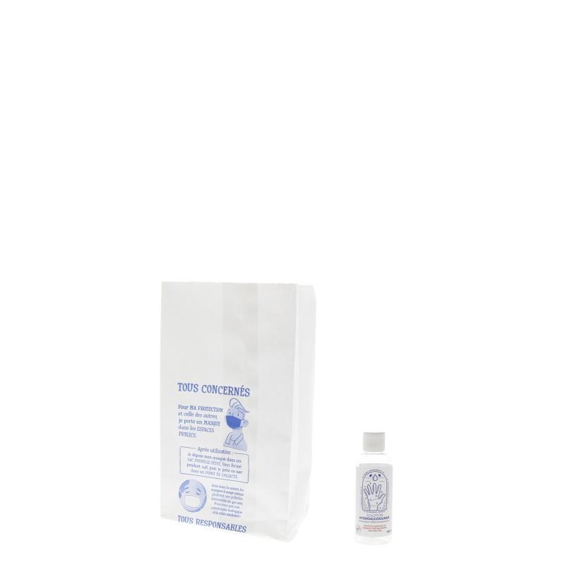 Sac papier pharmacie T54 - 12x25+8cm - Motif port du masque
