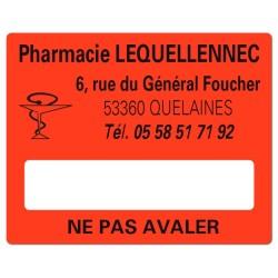 Etiquette rouge Pharmacie 50x40mm personnalisée Par 500