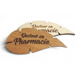 Badge feuille Docteur en Pharmacie