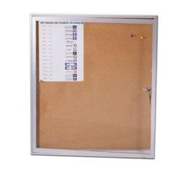 Panneau d'affichage intérieur vitré en liège 970x700mm