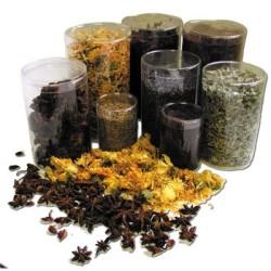Boite herboristerie plastique ronde 90x130mm