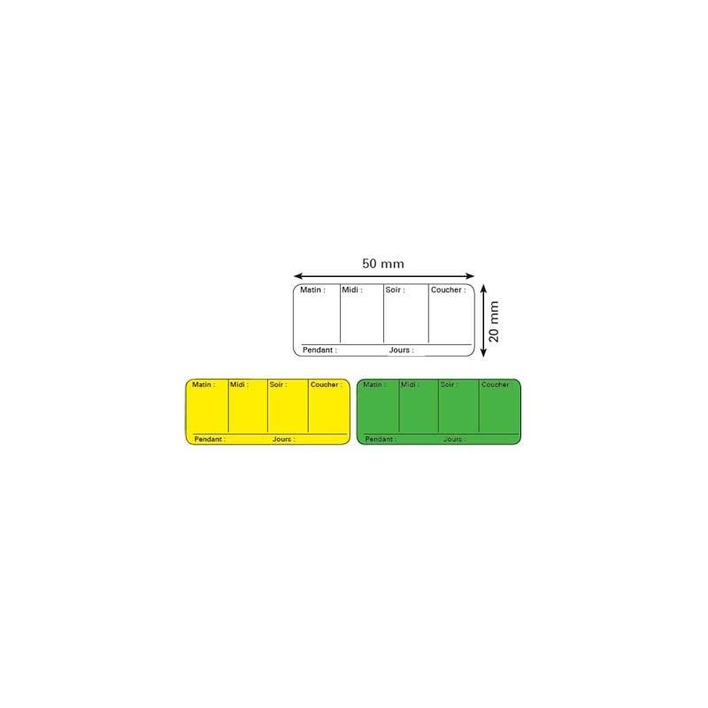 Etiquettes de pharmacie - posologie - 50 x 20 mm