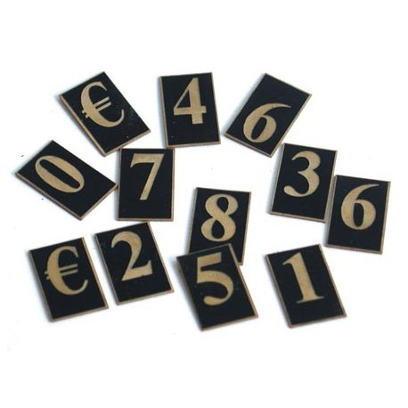 caracteres prix 30mm (lot de 110) texte dore