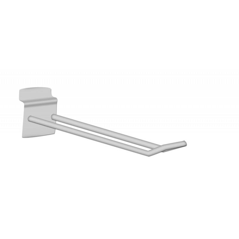 Broche double chromée pour panneaux rainurés L20cm