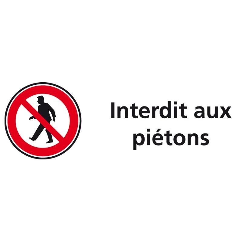 plaque acrylique securite 150x40mm interdit aux pietons