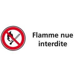 Plaque acrylique securite 150x40mm flamme nue interdite